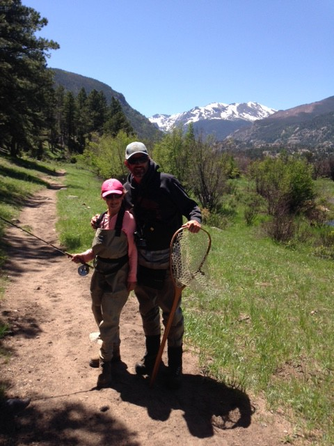Kids fishing in the rocky mountain national park